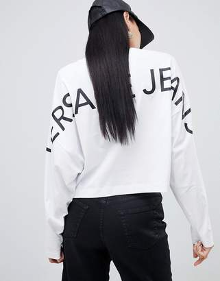 Versace batwing long sleeve top with back logo