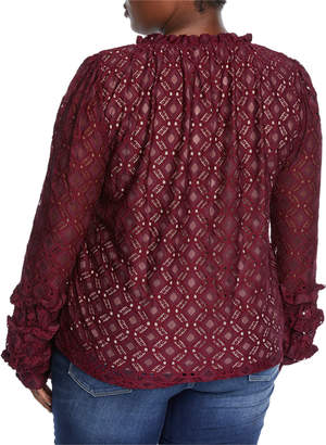 Lumie Embroidered Lace Ruffle Blouse, Plus Size