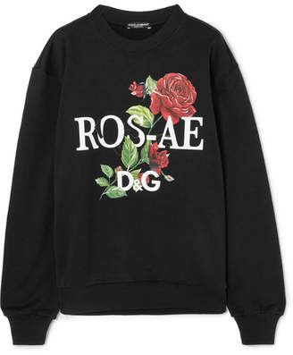 Dolce & Gabbana Floral-print Cotton-jersey Sweatshirt - Black