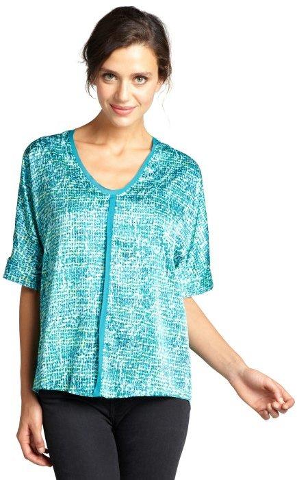 Tahari teal aruba patterned 'Charity' dolman sleeve v-neck blouse
