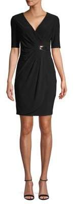 Eliza J Petite Elbow-Sleeve Ruched Sheath Dress