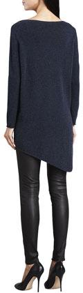 Joie Tambrel Sweater with Asymmetric Hem, Heather Midnight