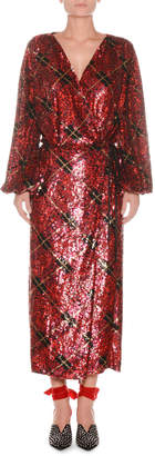 ATTICO Blouson-Sleeve Plaid Sequin Wrap Robe Evening Dress