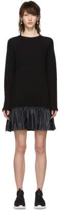 RED Valentino Black Wool Ruffle Short Dress