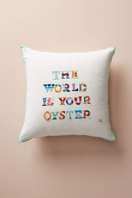 Yolanda Andres The World Is Your Oyster Embroidered Pillow