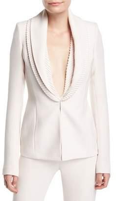 Brandon Maxwell Ribbed-Collar Crepe Suiting Jacket