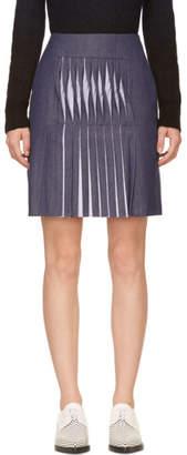 Richard Nicoll Blue Twill Twist Pleat Skirt