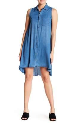 Tractr Monday Blue Frayed & Raw Hem Denim Shirt Dress
