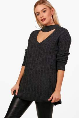 e63b2bc1d148 Free Returns at boohoo · boohoo Cable Knit Choker Jumper