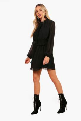 boohoo Shirred Waist High Neck Skater Dress