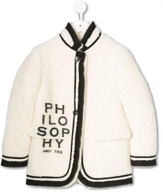 Philosophy di Lorenzo Serafini Kids branded wool coat