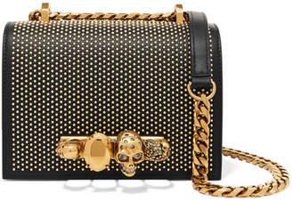 Alexander McQueen Jewelled Satchel Embellished Leather Shoulder Bag - Black
