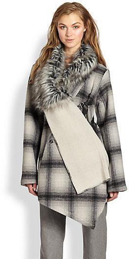 Nicholas K Felder Faux Fur-Trimmed Plaid Coat