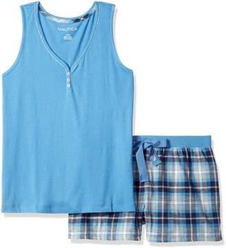 Nautica Women's Knit Tank with Flannel Short Set