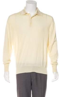 Loro Piana Cashmere & Silk Long Sleeve Polo Sweater