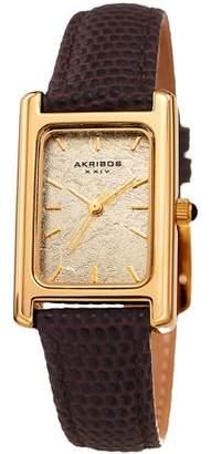 Akribos XXIV Gold Tone Dress Quartz Watch With Leather Strap [AK1046TN]