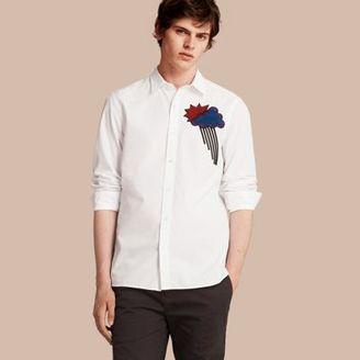 Burberry Weather Appliqué Cotton Poplin Shirt $385 thestylecure.com