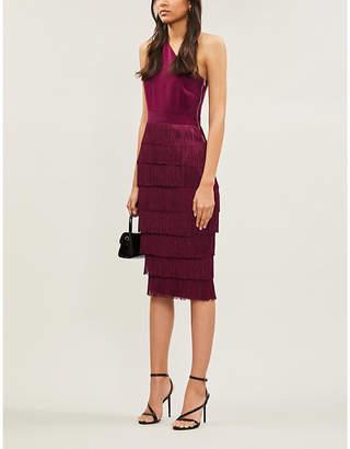 Lavish Alice Fringed one-shoulder stretch-crepe midi dress