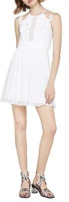 BCBGeneration Ruffle-Front Pintuck Sleeveless Dress