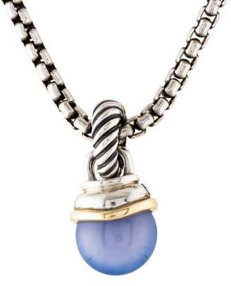 David Yurman Diamond & Dyed Chalcedony Acorn Pendant Necklace