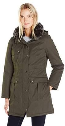 Kensie Women's Bonded Parka Jacket With Adjustable Waist Removable Faux Fur Collar