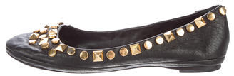 Tory Burch Tory Burch Stud-Embellished Leather Flats