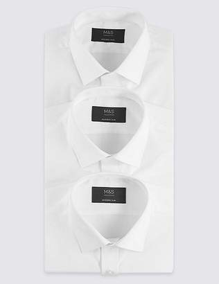 Marks and Spencer 3 Pack Cotton Blend Modern Slim Fit Shirts