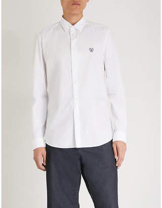 Kenzo Tiger-patch slim-fit cotton-poplin shirt