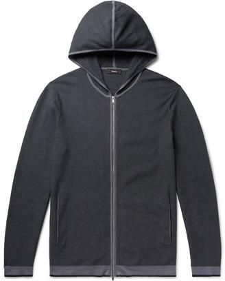 Theory Braghe Textured Cotton-Blend Zip-Up Hoodie - Men - Blue