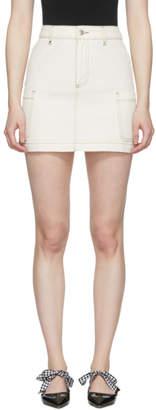 ALEXACHUNG Ecru Denim Patch Pocket Miniskirt