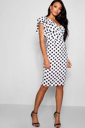 boohoo One Shoulder Polka Dot Ruffle Dress