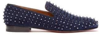 Christian Louboutin Rollerboy Velvet Studded Loafers - Mens - Blue