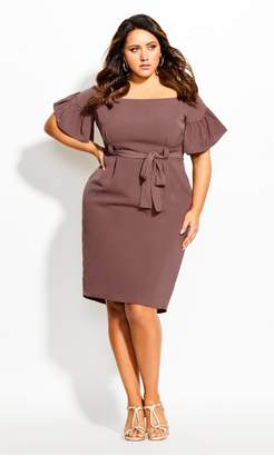 City Chic Citychic Dainty Sleeve Dress - nutmeg