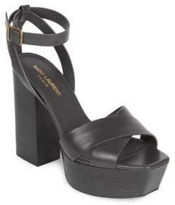 Saint Laurent Farrah Ankle-Strap Leather Platform Sandals