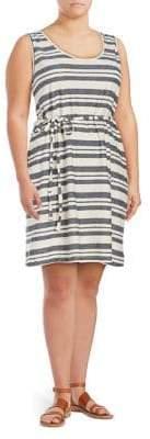 Junarose Plus Lessi Sleeveless Tied Stripe Dress