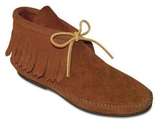 Minnetonka Classic Hardsole Suede Ankle Boots with Fringe