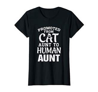 Womens Promoted From Cat Aunt To Human Aunt Gifts T-Shirt