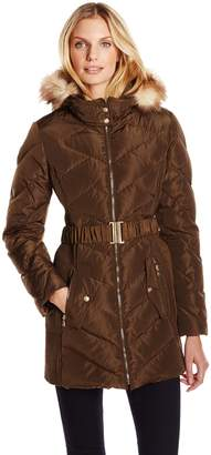 Jessica Simpson Outerwear Women's Down Coat with Belt and Side Panel Details