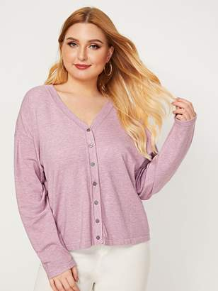 Shein Plus Heathered Knit Button Up Cardigan