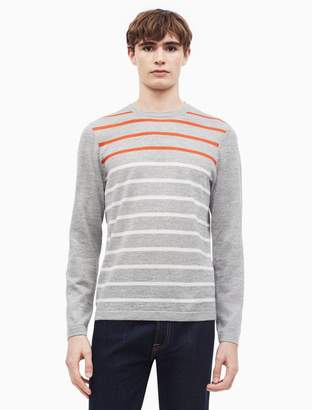 Calvin Klein merino wool blend striped crewneck sweater