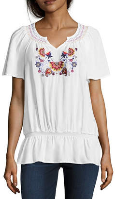 Liz Claiborne Embroidered Short Sleeve Raglan Sleeve Stripe Peasant Top