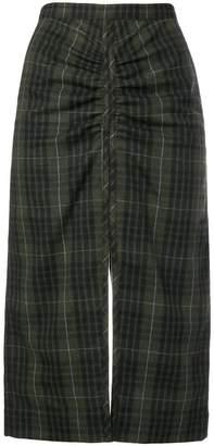 No.21 ruched tartan skirt