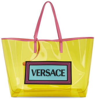 Versace Yellow and Pink PVC Oversized Tote