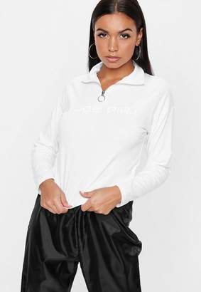 Missguided White Nude Girl Cropped Sweatshirt