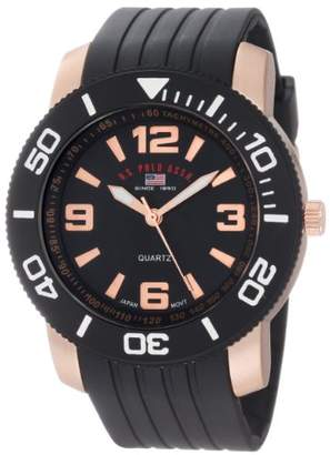 U.S. Polo Assn. Sport Men's US9125 Black and Rose Gold-Tone Watch