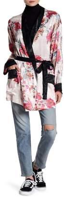 Free People Floral Print Waist Tie Kimono