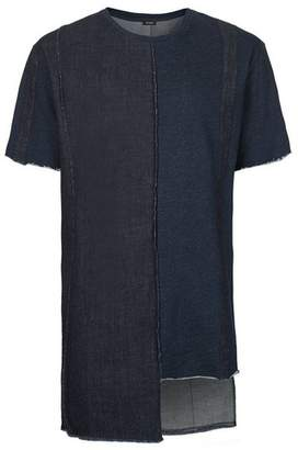 Topman Mens Black AAA Indigo Denim Patchwork T-Shirt