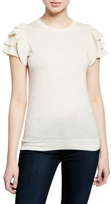 Neiman Marcus Cashmere-Blend Crewneck Short-Sleeve Ruffle-Shoulder Top