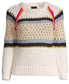 Smythe Women's Crochet Knit Crewneck Sweater