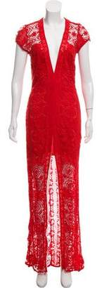 For Love & Lemons Lace Slit Dress